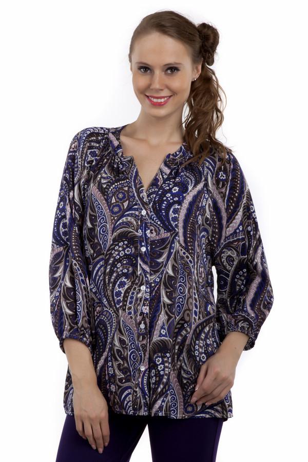 Блузa PezzoБлузы<br>Блуза Pezzo свободного кроя с восточным рисунком в стиле пейсли. Приятная расцветка, гармоничное сочетание синего и коричневого цвета. Блуза дополнена v-образным вырезом и укороченными рукавами. Центральная часть изделия застегивается на пуговицы.<br><br>Размер RU: 44<br>Пол: Женский<br>Возраст: Взрослый<br>Материал: район 100%<br>Цвет: Разноцветный