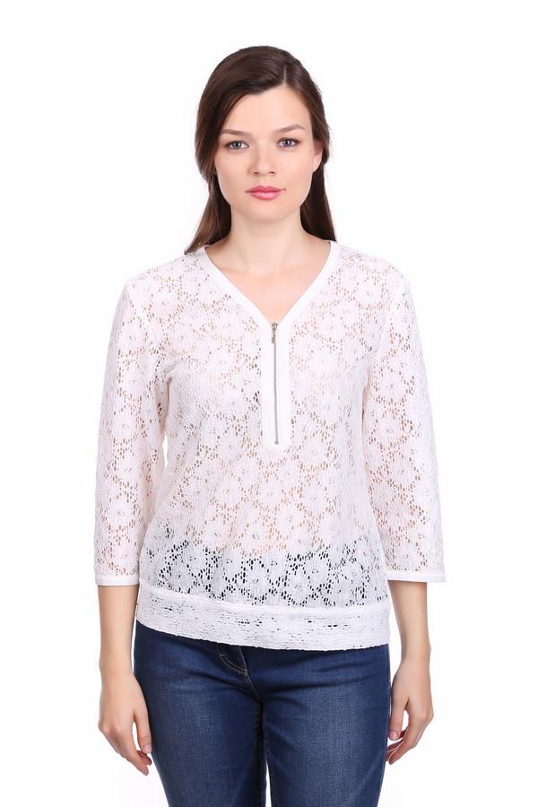 Блузa Gerry WeberБлузы<br>Блуза белого цвета фирмы Gerry Weber. Ткань состоит из 2% эластана и 98% полиэстера. Модель выполнена прямым покроем. Блуза дополнена V - образным воротом, застежка молния, втачными рукавами 3/4 длинны, баской по низу изделия. Модель выполнена из кружевной ткани. Такая блуза придаст вашей фигуре изящности. Подойдет к различным мероприятиям.