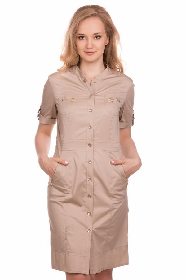 Платье Gerry WeberПлатья<br><br><br>Размер RU: 44<br>Пол: Женский<br>Возраст: Взрослый<br>Материал: эластан 4%, хлопок 96%<br>Цвет: Бежевый