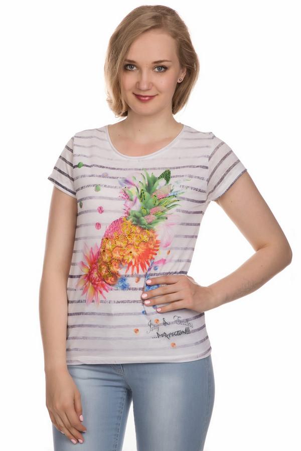 Футболка ApanageФутболки<br>Футболка Apanage женская разноцветная. Лёгкая летняя футболка, выполненная из натуральных и искусственных волокон, - прекрасный выбор для современных женщин. Экзотический рисунок в розово-оранжево-зелёно-синих цветах на белом фоне, украшенный стразами, придаёт модели неординарность. В такой футболке вы всегда будете выглядеть нарядно и красиво. Состав: хлопок, полиэстер.<br><br>Размер RU: 46<br>Пол: Женский<br>Возраст: Взрослый<br>Материал: полиэстер 50%, хлопок 50%<br>Цвет: Разноцветный