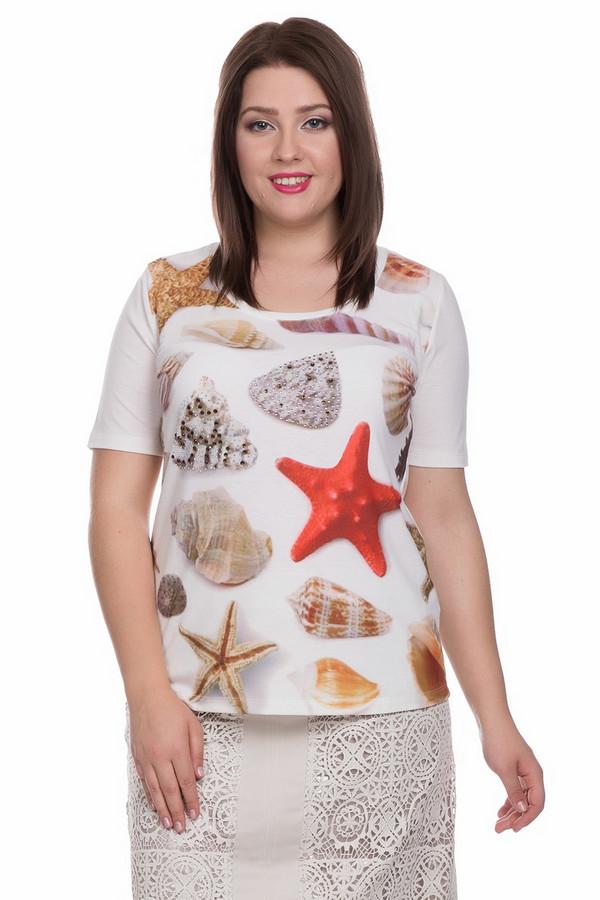 Футболка ApanageФутболки<br>Футболка Apanage женская разноцветная. Летняя нарядная футболка для тех, кто предпочитает морскую тематику. В этой модели с коротким рукавом, круглым вырезом основное внимание направлено на рисунок лифа: на белом фоне разместились серо-красно-бежевые ракушки и морские звёзды различной конфигурации, украшенные стразами. Футболка смотрится очень эффектно. Состав: полиэстер, эластан.<br><br>Размер RU: 48-50<br>Пол: Женский<br>Возраст: Взрослый<br>Материал: эластан 5%, полиэстер 95%<br>Цвет: Разноцветный