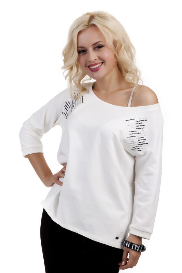 Пуловер Tom TailorПуловеры<br>Стильный пуловер от бренда Tom Tailor прямого кроя выполнен из плотного натурального хлопкового материала белого цвета. Изделие дополнено: воротом-лодочка и рукавами-реглан три четверти. Пуловер декорирован пайетками.<br><br>Размер RU: 38-40<br>Пол: Женский<br>Возраст: Взрослый<br>Материал: хлопок 100%<br>Цвет: Белый