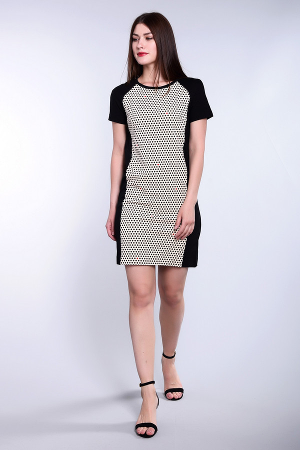 Платье PezzoПлатья<br>Платье Pezzo черно-бежевое. Сдержанное и в то же время фантазийное, это милое платье притянет к вам взгляды окружающих. Всегда актуальный горошек освежит любой образ, а покрой реглан – это фасон вне времени. Сочетание темной спинки и таких же боковых частей спереди подчеркнет прелести женской фигуры, и вообще такая расцветка крайне практична. Такое платье длиной выше колена отлично подойдет для офиса, носить его вы сможете круглогодично. Состав: вискоза, нейлон, спандекс, подкладка – из полиэстера.<br><br>Размер RU: 46<br>Пол: Женский<br>Возраст: Взрослый<br>Материал: вискоза 68%, нейлон 26%, спандекс 6%, Состав_подкладка полиэстер 100%<br>Цвет: Бежевый
