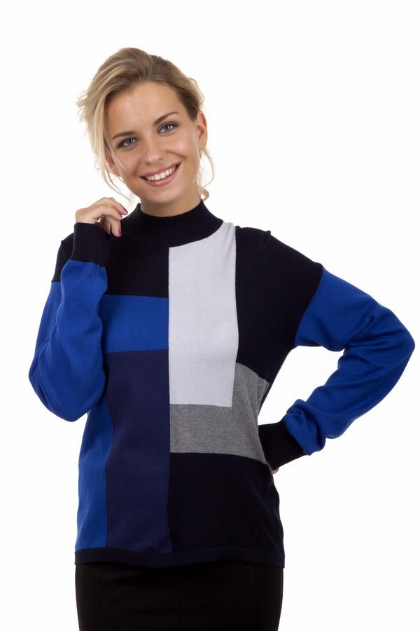 Пуловер LebekПуловеры<br>Стильный, теплый пуловер Lebek в стиле колорблокинг. Пуловер выполнен в черном, сером, белом и синем цветах. Он освежит любой образ и подойдет как для работы в офисе, так и для вечерней прогулки. Он очень мягкий и приятный на ощупь. Отлично сочетается с юбкой-карандаш и классическими  брюками . Так же хорошо смотрится с простыми синими  джинсами  и любой обувью.<br><br>Размер RU: 52<br>Пол: Женский<br>Возраст: Взрослый<br>Материал: полиамид 14%, полиакрил 40%, модал 46%<br>Цвет: Разноцветный