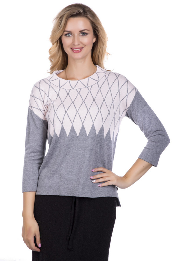 Пуловер PezzoПуловеры<br>Пуловер от бренда Pezzo светло-серого цвета. Сочетание разных оттенков делает предлагаемую модель изысканной и очень элегантной. Рисунок из ромбов стройнит обладательницу пуловера, в то же самое время обеспечивая необычный вид изделия. Рукав три четверти красиво открывает руки. Состав: вискоза, хлопок, нейлон, шерсть, кашемир, акрил. Демисезонная модель для женщин любого возраста – в таком пуловере вы всегда будете выглядеть моложе своих лет.<br><br>Размер RU: 54<br>Пол: Женский<br>Возраст: Взрослый<br>Материал: вискоза 35%, хлопок 16%, шерсть 5%, нейлон 30%, акрил 10%, кашемир 4%<br>Цвет: Розовый