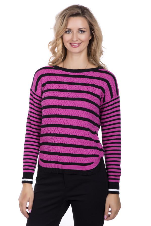 Пуловер PezzoПуловеры<br>Пуловер Pezzo розово-черный. Восхитительная модель, которая должна быть в гардеробе у каждой стильной леди! Рисунок из полос дополнен яркими акцентами: белые полоски на рукавах, интересные округлый разрезы по бокам изделия. Переоценить достоинства такой модели невозможно! Состав: 100%-ный хлопок.<br><br>Размер RU: 46<br>Пол: Женский<br>Возраст: Взрослый<br>Материал: хлопок 100%<br>Цвет: Чёрный