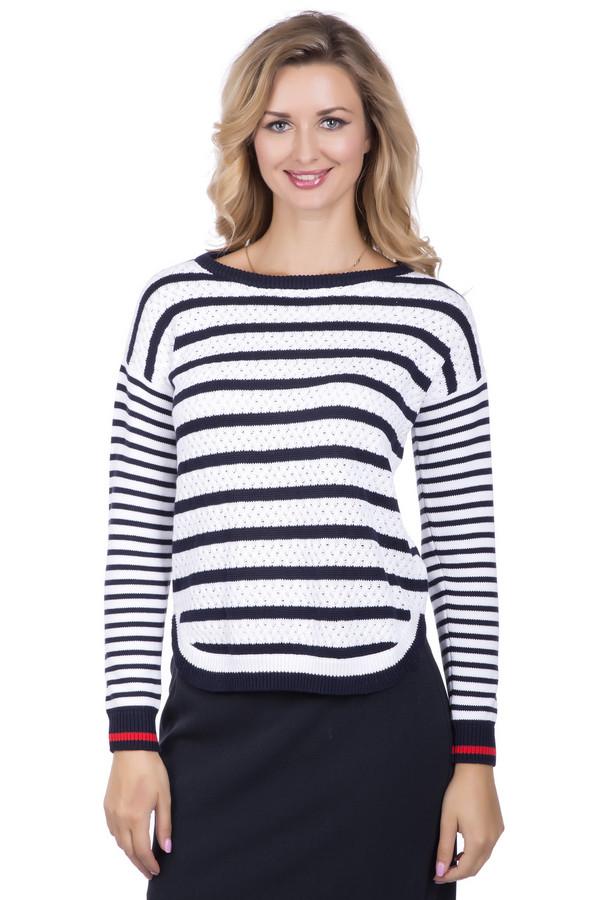 Пуловер PezzoПуловеры<br>Женский пуловер от бренда Pezzo в классической расцветки сине-белой. Восхитительная модель, которая должна быть в гардеробе у каждой стильной леди! Рисунок из полос дополнен яркими акцентами: красные полоски на рукавах, интересные округлый разрезы по бокам изделия. Переоценить достоинства такой модели невозможно! Состав: 100%-ный хлопок.<br><br>Размер RU: 50<br>Пол: Женский<br>Возраст: Взрослый<br>Материал: хлопок 100%<br>Цвет: Синий
