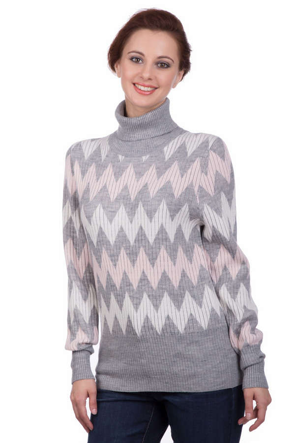 Пуловер PezzoПуловеры<br>Пуловер Pezzo разноцветный. Зигзагообразный рисунок этого изделия выглядит очень оригинально и свежо. В таком пуловере вам будет не только комфортно, но еще и тепло благодаря отличному составу: шерсть с добавлением акрила. Высокие однотонные манжеты и воротничок обеспечат обладательнице этой восхитительной вещи уют даже в холодные дни.<br><br>Размер RU: 48<br>Пол: Женский<br>Возраст: Взрослый<br>Материал: шерсть 15%, акрил 85%<br>Цвет: Разноцветный