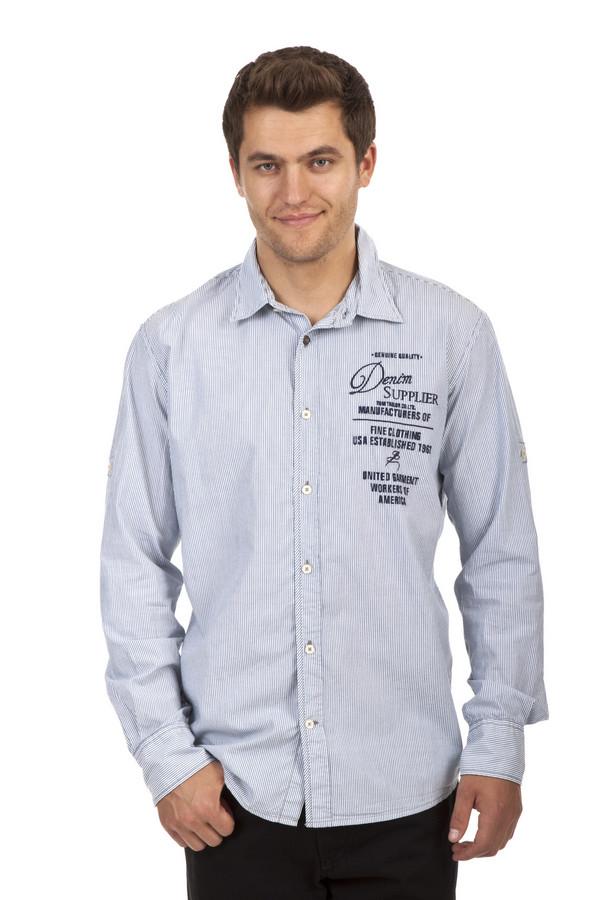 Рубашка с длинным рукавом Tom TailorДлинный рукав<br>Полосатая рубашка бренда Tom Tailor прямого кроя выполнена из хлопкового материала белого цвета. Изделие дополнено: классическим отложным воротником и втачными рубашечными рукавами. Рубашка застегивается на планку с пуговицами и декорирована принтом с надписями.<br><br>Размер RU: 39-40<br>Пол: Мужской<br>Возраст: Взрослый<br>Материал: хлопок 100%<br>Цвет: Разноцветный