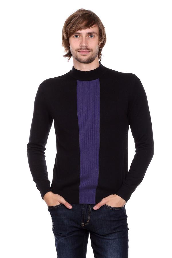 Джемпер PezzoДжемперы и Пуловеры<br>Джемпер Pezzo черный с фиолетовой вертикальной полосой. Модель достаточно небанальная и даже можно сказать – оригинальная. Яркая резинка спереди изделия выглядит очень стильно. Хотите всегда быть в тренде? Такой джемпер будет для вас отличным решением. Состав: шерсть, вискоза, полиамид. Хорошо сочетается с джинсами и более строгими брюками.