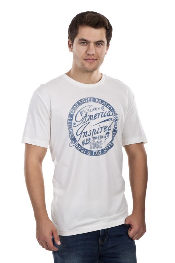 Футболкa Tom TailorФутболки<br>Мужская футболка от бренда Tom Tailor прямого кроя выполнена из приятного на ощупь хлопкового материала белого цвета. Изделие дополнено: круглым вырезом ворота и короткими рукавами. Футболка спереди декорирована рисунком с надписями и названием бренда.<br><br>Размер RU: 44-46<br>Пол: Мужской<br>Возраст: Взрослый<br>Материал: хлопок 100%<br>Цвет: Белый