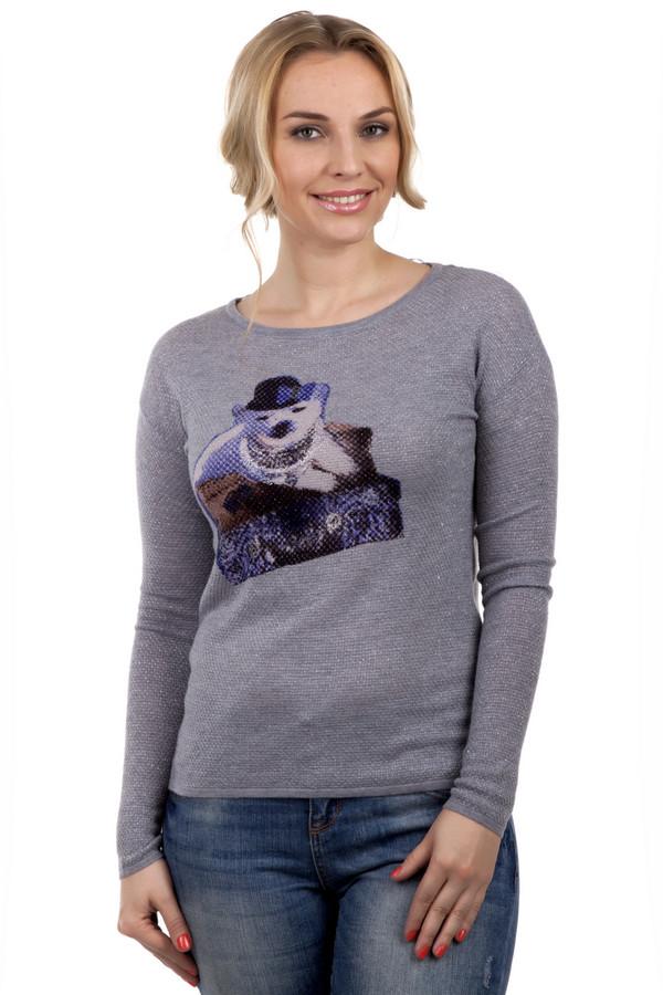 Пуловер PassportПуловеры<br>Женский пуловер от бренда Passport. Это пуловер серого цвета, с серебристым люрексом и принтом белого медведя на груди. Данный пуловер связан из шерсти по классическому покрою. Изделие дополнено: круглым вырезом и длинным рукавом. Данный пуловер очень теплый и удобный.<br><br>Размер RU: 40/42<br>Пол: Женский<br>Возраст: Взрослый<br>Материал: шерсть 95%, металл 5%<br>Цвет: Разноцветный