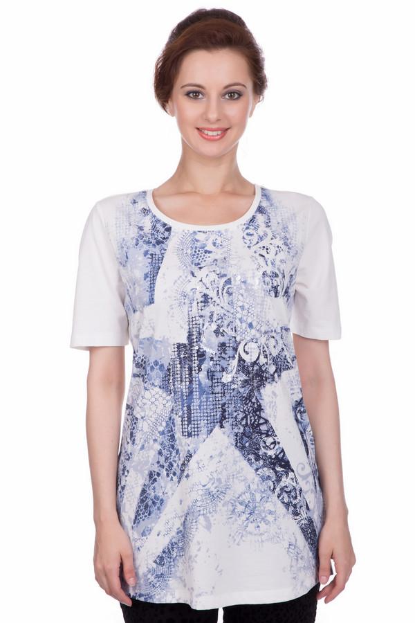 Футболка Betty BarclayФутболки<br>Летняя хлопчатобумажная футболка специально для тех женщин, которые любят сочетать стиль и комфорт. Короткий рукав, круглый выкат, свободный удлиненный силуэт обеспечит комфорт в жаркую погоду. По основному белому полю изображен необычный фантазийный рисунок синим цветом. Женственная футболка будет прекрасно смотреться и со строгими брюками, и с джинсами. Турецкое производство.<br><br>Размер RU: 48<br>Пол: Женский<br>Возраст: Взрослый<br>Материал: хлопок 100%<br>Цвет: Синий