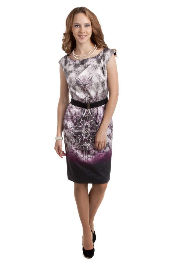 Вечернее платье CommaВечерние платья<br>Модное платье от бренда Comma прилегающего кроя. Изделие дополнено: воротником-лодочка, скрытой застежкой-молния на спинке и эластичным черным поясом на талии. Платье декорирована абстрактным принтом в сиренево-фиолетовой гамме с эффектом градиент книзу.<br><br>Размер RU: 42<br>Пол: Женский<br>Возраст: Взрослый<br>Материал: эластан 4%, хлопок 96%<br>Цвет: Разноцветный