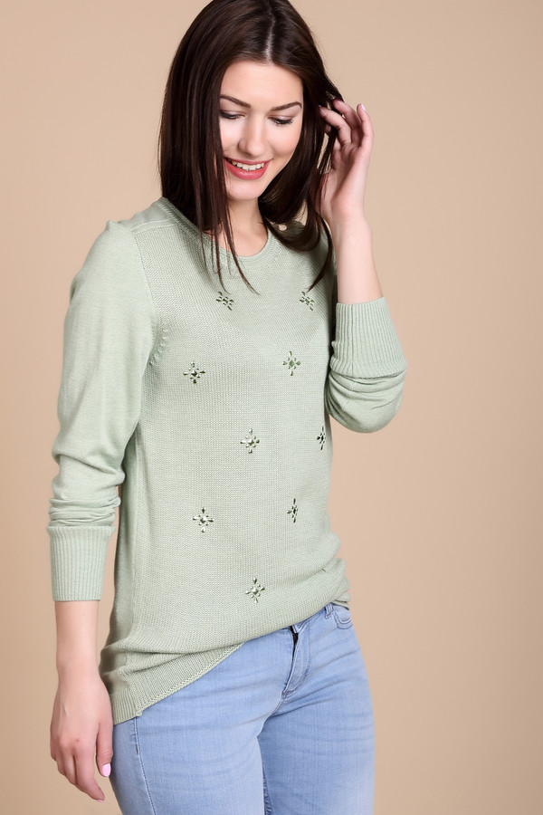 Пуловер PezzoПуловеры<br>Пуловер Pezzo светло-зеленого оттенка. Модель стильная и небанальная. Ее удлиненный силуэт и лаконичный блестящий декор – отменное решение для стильной женщины. Состав: шерсть, вискоза, полиамид.<br><br>Размер RU: 52<br>Пол: Женский<br>Возраст: Взрослый<br>Материал: вискоза 49%, шерсть 20%, полиамид 31%<br>Цвет: Зелёный
