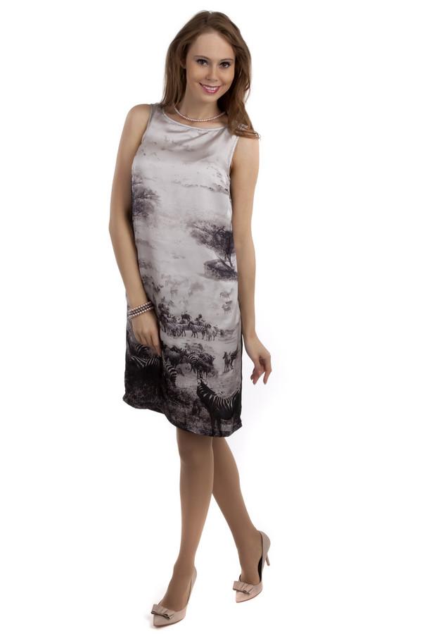Платье Tom TailorПлатья<br>Модное черное платье бренда Tom Tailor прямого кроя. Изделие дополнено воротником-лодочка. Без рукавов. Платье оформлено стильным черно-белым принтом сафари.<br><br>Размер RU: 44<br>Пол: Женский<br>Возраст: Взрослый<br>Материал: полиэстер 100%<br>Цвет: Серый