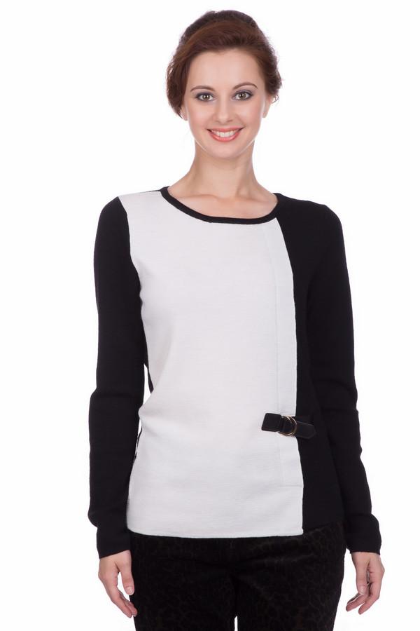 Пуловер PezzoПуловеры<br>Пуловер Pezzo черно-белый. Что может быть красивее и ярче, чем игра контрастов? Сочетание максимально светлого цвета и глубины черного выглядит изысканно и просто великолепно. Асимметричный крой и декоративная пряжка сбоку дополняют это впечатление. Состав: 100%-ная шерсть. В таком пуловере вам будет комфортно при любой погоде.<br><br>Размер RU: 50<br>Пол: Женский<br>Возраст: Взрослый<br>Материал: шерсть 100%<br>Цвет: Белый