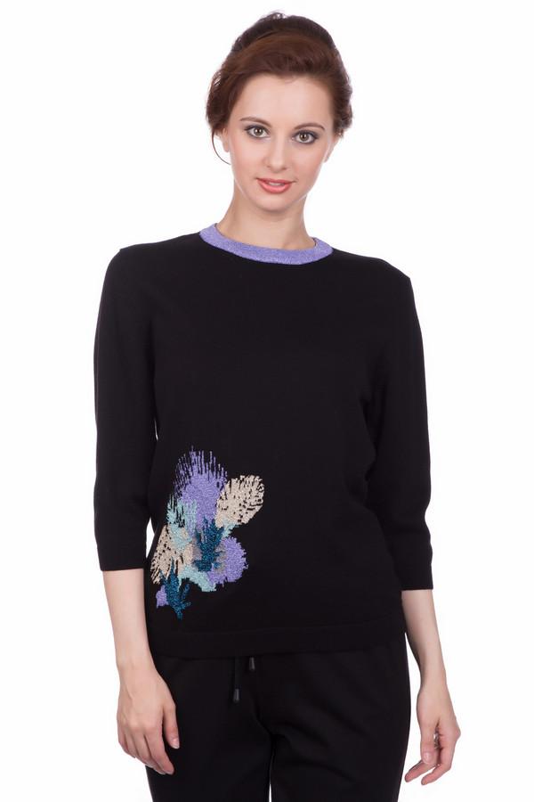 Пуловер PezzoПуловеры<br>Пуловер Pezzo черный с асимметричным декором. Вырез горловины сиреневого цвета и прекрасная отделка на боку, выполненная в бежевых, голубых, сиреневых тонах, - это яркие акценты нашей восхитительной модели. Темный цвет всегда стройнит, а какой женщине не хочется выглядеть более изящной? Состав: хлопок, полиамид, люрекс.<br><br>Размер RU: 52<br>Пол: Женский<br>Возраст: Взрослый<br>Материал: хлопок 92%, полиамид 5%, люрекс 3%<br>Цвет: Разноцветный