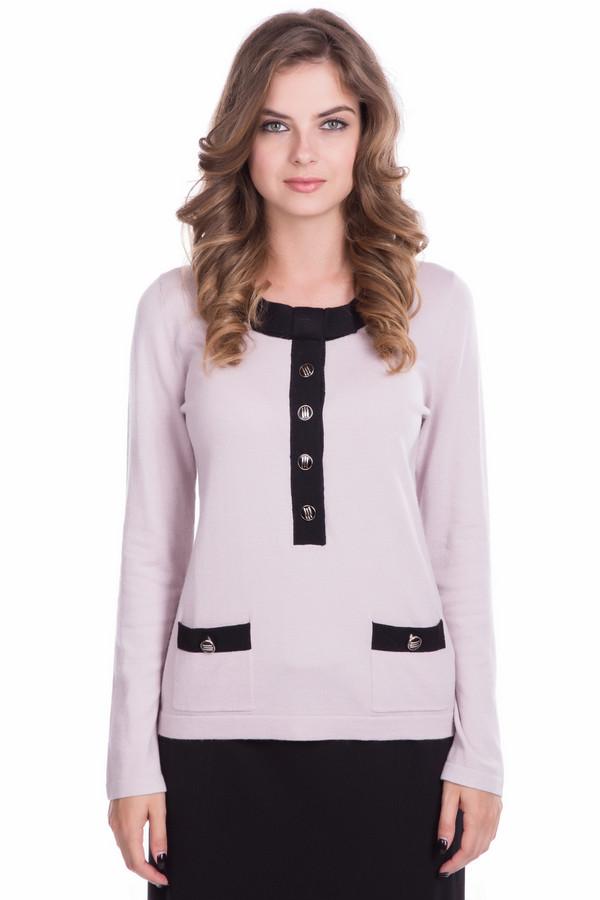 Пуловер PezzoПуловеры<br>Пуловер Pezzo женский розово-чёрный. Элегантный пуловер выполнен в строгом классическом стиле. Изысканность и шарм придаёт ему отделка горловины и карманчиков контрастным чёрным цветом и красивыми пуговичками. Такая модель прекрасно подойдёт для работы в офисе, а в сочетании с тёмной юбкой сделает ваш образ неотразимым. Состав: вискоза, полиамид, шерсть.<br><br>Размер RU: 44<br>Пол: Женский<br>Возраст: Взрослый<br>Материал: шерсть 20%, полиамид 33%, вискоза 47%<br>Цвет: Чёрный