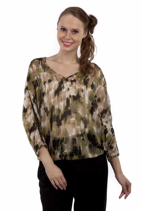 Блузa Tom TailorБлузы<br>Стильная блуза бренда Tom Tailor прямого кроя выполнена из прозрачного материала в бежево-оливковой гамме. Изделие дополнено: v-образным вырезом и рукавами 3/4. Рукава декорированы по бокам черной ленточкой с фурнитурой.<br><br>Размер RU: 44<br>Пол: Женский<br>Возраст: Взрослый<br>Материал: полиэстер 100%<br>Цвет: Разноцветный