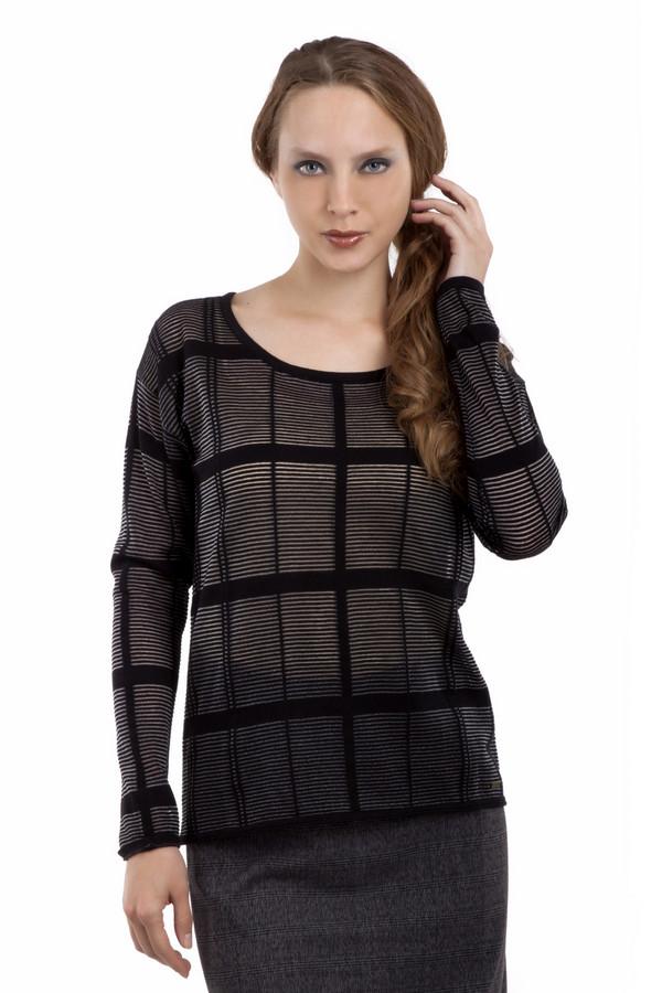 Пуловер Tom TailorПуловеры<br>Оригинальный черный пуловер бренда Tom Tailor выполнен из полупрозрачного материала. Изделие дополнено: глубоким круглым вырезом и длинными рукавами. Пуловер декорирован вязанным рисунком клетка.<br><br>Размер RU: 38-40<br>Пол: Женский<br>Возраст: Взрослый<br>Материал: хлопок 83%, полиэстер 17%<br>Цвет: Чёрный