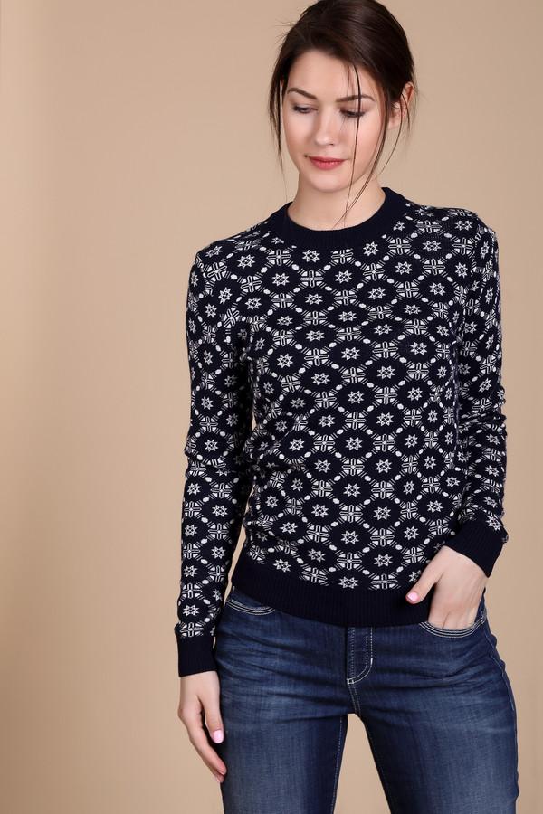 Пуловер PezzoПуловеры<br>Пуловер Pezzo темно-синего оттенка. Некрупный орнамент белого цвета по всему полотну этой модели просто очарователен. Однотонные манжеты, низ и округлый вырез горловины чудесно оттеняют пестрые узоры его основной части. Состав: вискоза, полиамид, шерсть, акрил. Вы можете носить это изделие зимой, восхищая своим видом всех окружающих. Рекомендуем сочетать его с однотонными юбками и брюками.<br><br>Размер RU: 46<br>Пол: Женский<br>Возраст: Взрослый<br>Материал: полиамид 15%, акрил 45%, шерсть 25%, вискоза 15%<br>Цвет: Белый