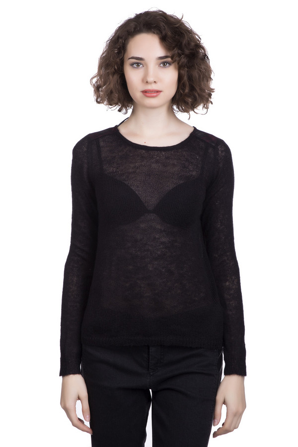 Пуловер QSПуловеры<br><br><br>Размер RU: 40-42<br>Пол: Женский<br>Возраст: Взрослый<br>Материал: полиамид 30%, полиакрил 60%, шерсть 5%, мохер 5%<br>Цвет: Чёрный