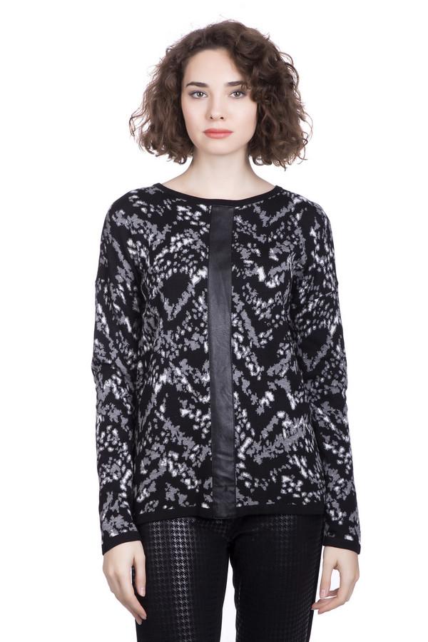 Пуловер Betty BarclayПуловеры<br>Изумительный модный демисезонный пуловер для женщин от Бетти Барклай! По основному черному цвету выполнен витиеватый рисунок серым и черным цветом. Прямой силуэт изделия придаст стройности любой фигуре. От горловины книзу проходит неширокая кожаная вставка, которая так же стройнит. Пуловер прекрасно сочетается с узкими леггинсами или брюками. Состав: 18% вискоза, 9%полиакрил, 33% хлопок, 40% лиоцел.<br><br>Размер RU: 52<br>Пол: Женский<br>Возраст: Взрослый<br>Материал: вискоза 18%, хлопок 33%, полиакрил 9%, лиоцел 40%<br>Цвет: Разноцветный