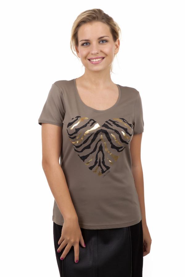 Футболка Tom TailorФутболки<br>Женская футболка от бренда Tom Tailor прилегающего кроя выполнена из хлопкового материала цвета хаки. Изделие дополнено: u-образным вырезом и короткими рукавами. Футболка декорирована принтом в виде сердца зебровой раскраски.<br><br>Размер RU: 38-40<br>Пол: Женский<br>Возраст: Взрослый<br>Материал: хлопок 100%<br>Цвет: Коричневый