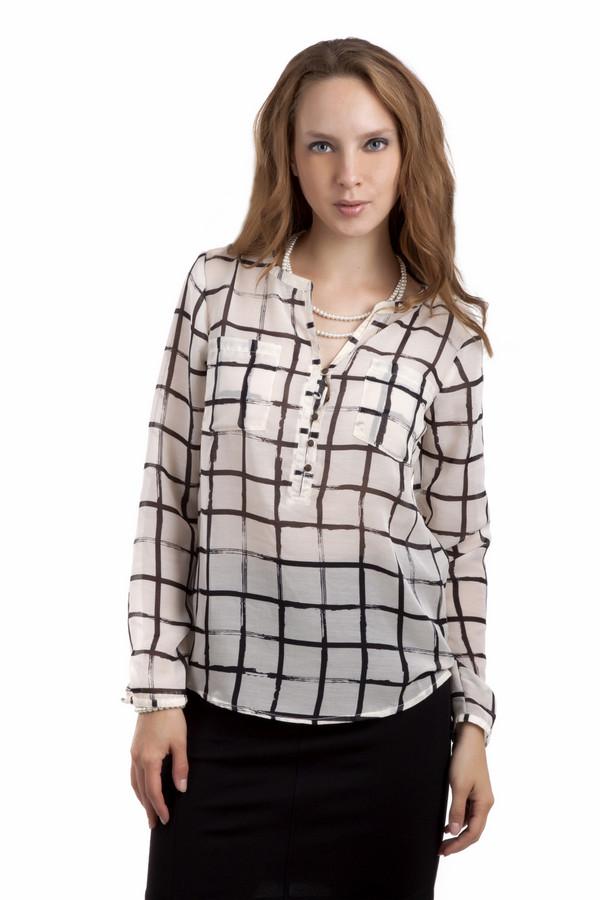 Блузa Tom TailorБлузы<br>Прозрачная женственная блуза бренда Tom Tailor прямого кроя представлена в молочном цвете. Изделие дополнено: круглым вырезом, двумя накладными нагрудными карманами, длинными рукавами, удлинённой спинкой и застежкой-пуговица. Манжеты оформлены застежкой-пуговица. Блуза декорирована клетчатым контрастным принтом.<br><br>Размер RU: 42<br>Пол: Женский<br>Возраст: Взрослый<br>Материал: полиэстер 100%<br>Цвет: Чёрный