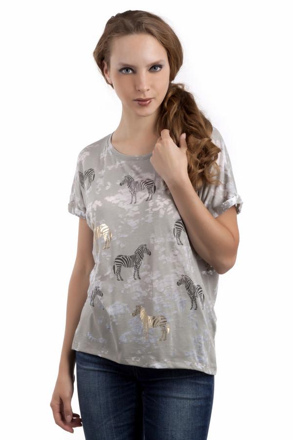 Футболка Tom TailorФутболки<br>Серая женская футболка от бренда Tom Tailor свободного кроя. Изделие дополнено: круглым вырезом, короткими рукавами-кимоно и удлинённой спинкой. Футболка декорирована пятнистым рисунком и принтом в виде зебр черного и золотого цвета.<br><br>Размер RU: 40-42<br>Пол: Женский<br>Возраст: Взрослый<br>Материал: хлопок 40%, полиэстер 60%<br>Цвет: Серый
