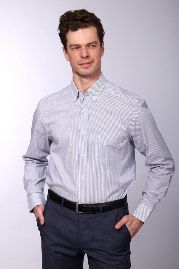 Рубашка с длинным рукавом PezzoДлинный рукав<br>Рубашка с длинным рукавом Pezzo бело-синяя. Отличная модель для решительных мужчин, которые хотят выглядеть безупречно в офисе и после работы. Аккуратный отложной воротничок, который пристегивается пуговичками, и стильный нагрудный карман способствуют созданию актуального образа. Состав: 100%-ный хлопок. Демисезонная вещь.<br><br>Размер RU: 45<br>Пол: Мужской<br>Возраст: Взрослый<br>Материал: хлопок 100%<br>Цвет: Синий