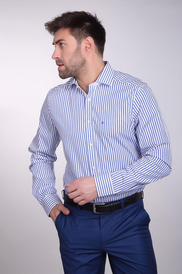 Рубашка с длинным рукавом Just ValeriДлинный рукав<br>Рубашка с длинным рукавом Just Valeri в полоску мужская. Бело-синее изделие смотрится на все сто, в такой рубашке вы будут выглядеть уместно и на деловой встрече с партнерами, и на неформальной с друзьями после работы. И это очень удобно. Остаться без внимания, будучи в ней, действительно нереально. Тонкая полоска – не только актуально, а еще и очень практично. Сочетание горизонтальных и вертикальных полос делает изделие еще более желанным.<br><br>Размер RU: 43<br>Пол: Мужской<br>Возраст: Взрослый<br>Материал: хлопок 100%<br>Цвет: Синий