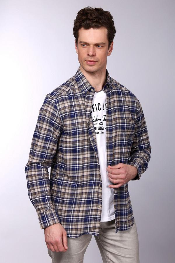 Рубашка с длинным рукавом PezzoДлинный рукав<br>Рубашка с длинным рукавом Pezzo мужская синяя белая коричневая. Наши мужчины предпочитают не только красивую одежду, но удобную и практичную. Данная модель рубашки как раз обладает этими достоинствами. Рубашка в сине-бело-коричневую клетку подчеркнёт достоинства мужской фигуры. Она отлично подходит и для работы в офисе, и для отдыха. Состав: 100% хлопок.<br><br>Размер RU: 41<br>Пол: Мужской<br>Возраст: Взрослый<br>Материал: хлопок 100%<br>Цвет: Разноцветный