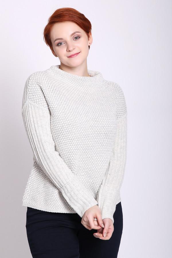 Пуловер OuiПуловеры<br>Пуловер женский серого цвета фирмы Oui. Модель выполнена прямым покроем. Изделие дополнено округлым воротом, тачными, длинными рукавами. Ткань состоит из 34% вискозы, 23% полиамида, 43% шерсти. Сочетать можно с различными брюками.