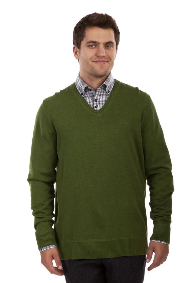 Джемпер s.OliverДжемперы<br>Джемпер от бренда s.Oliver прямого кроя выполнен из приятного на ощупь зеленого трикотажа. Изделие дополнено: v-образным вырезом и длинными рукавами. Ворот, манжеты и нижний кант оформлены трикотажной резинкой.<br><br>Размер RU: 44-46<br>Пол: Мужской<br>Возраст: Взрослый<br>Материал: хлопок 100%<br>Цвет: Зелёный