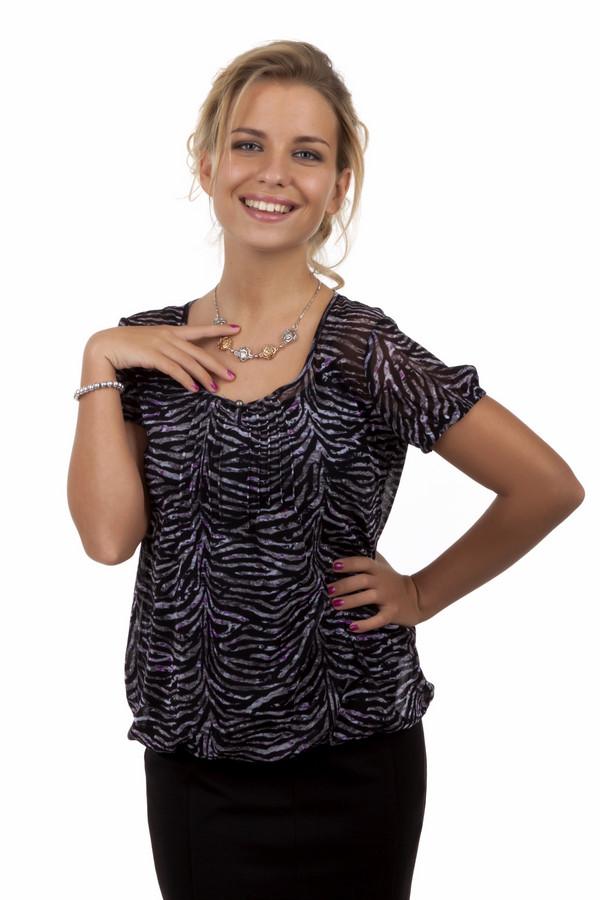 Блузa s.OliverБлузы<br>Воздушная блуза бренда s.Oliver прямого кроя представлена в черно-серых оттенках. Изделие дополнено: u- образным вырезом и короткими рукавами-фонарик. Блуза выполнена из прозрачного материала и декорирована анималистическим принтом.<br><br>Размер RU: 42<br>Пол: Женский<br>Возраст: Взрослый<br>Материал: полиамид 100%<br>Цвет: Разноцветный