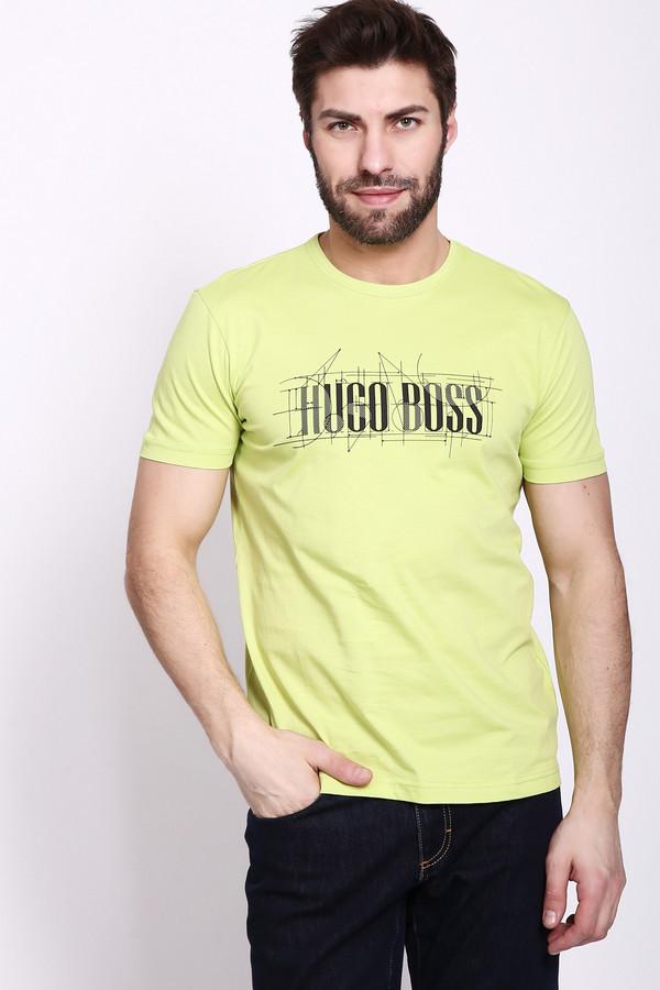Футболкa Boss GreenФутболки<br>Футболка мужская желтого цвета фирмы Boss Green. Модель выполнена прямым фасоном. Изделие дополнено круглым воротом, втачными короткими рукавами, передним принтом. Гармонировать можно с различными брюками, джинсами.