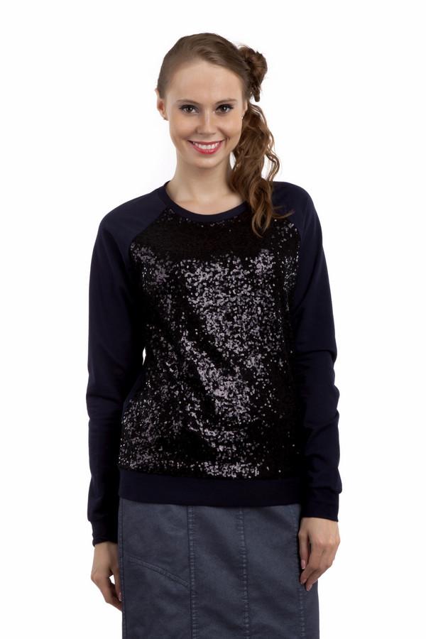 Пуловер SIR OliverПуловеры<br>Модный женский пуловер бренда SIR Oliver. Это пуловер темно-синего цвета. Он дополнен темно-синими блестящими пайетками в передней части, круглым вырезом и длинным рукавом. Изделие пошито из хлопка с добавлением полиэстера.<br><br>Размер RU: 46<br>Пол: Женский<br>Возраст: Взрослый<br>Материал: полиэстер 35%, хлопок 65%<br>Цвет: Синий