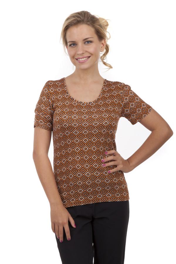 Футболка PezzoФутболки<br>Женская футболка Pezzo прямого кроя выполнена в коричневых тоннах с геометрическим принтом. Изделие дополнено: u-образным вырезом и короткими рукавами.<br><br>Размер RU: 42<br>Пол: Женский<br>Возраст: Взрослый<br>Материал: эластан 5%, вискоза 95%<br>Цвет: Разноцветный
