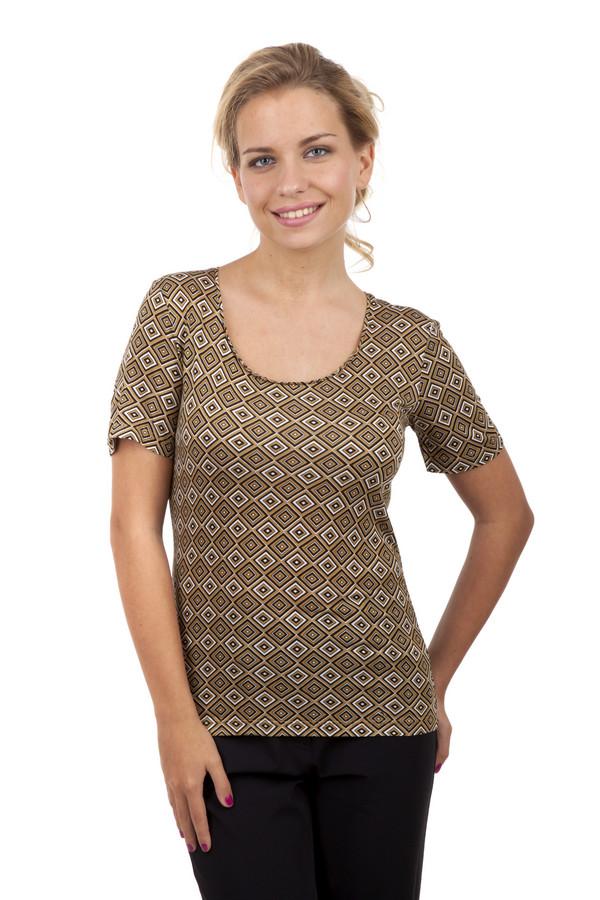Футболка PezzoФутболки<br>Женская футболка Pezzo прямого кроя выполнена в коричневых тоннах с геометрическим принтом. Изделие дополнено: u-образным вырезом и короткими рукавами.<br><br>Размер RU: 42<br>Пол: Женский<br>Возраст: Взрослый<br>Материал: эластан 5%, вискоза 95%<br>Цвет: Коричневый