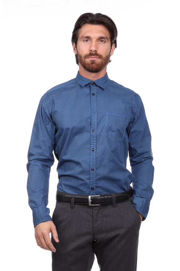 Рубашка с длинным рукавом CalamarДлинный рукав<br><br><br>Размер RU: 39-40<br>Пол: Мужской<br>Возраст: Взрослый<br>Материал: хлопок 100%<br>Цвет: Синий