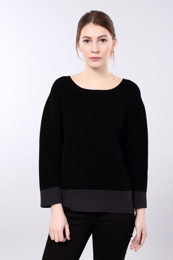 Пуловер Gerry WeberПуловеры<br>Пуловер черного цвета фирмы Gerry Weber. Ткань состоит из 72% вискозы 28% полиэстера. Модель выполнена прямым покроем. Пуловер дополнен прямоугольным воротом, втачными, длинными рукавами с манжетами. Низ пуловера заканчивает манжета из плотной ткани серого цвета. Такой пуловер можно одеть с брюками.