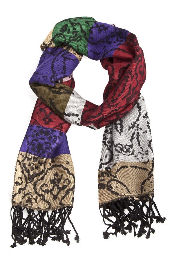 Шарф PassigattiШарфы<br>Женский шарф Passigatti с восточным орнаментом и цветными широкими полосками. Изделие дополнено бахромой на концах.<br><br>Размер RU: один размер<br>Пол: Женский<br>Возраст: Взрослый<br>Материал: вискоза 100%<br>Цвет: Разноцветный
