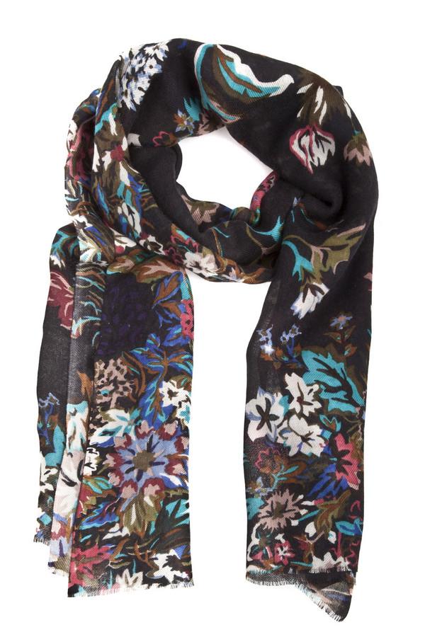 Шарф PassigattiШарфы<br>Теплый шарф Passigatti темно-коричневого цвета с красочным цветочным принтом. Изделие дополнено небольшой бахромой на концах.<br><br>Размер RU: один размер<br>Пол: Женский<br>Возраст: Взрослый<br>Материал: шерсть 92%, шелк 8%<br>Цвет: Разноцветный