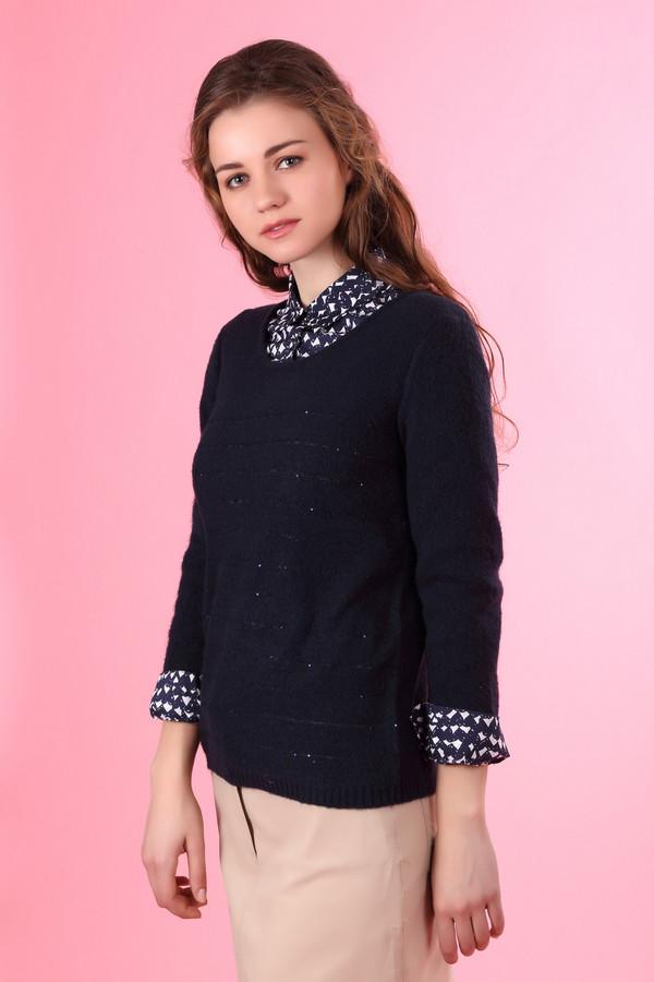 Пуловер Via AppiaПуловеры<br>Пуловер фирмы Via Appia синего цвета. Модель выполнена прямым кроем. Ткань состоит из 4 % эластана, 57 % полиакрила, 2 % полиэстера, 29 % полиамида и 8 % шерсти. Изделие дополнено круглым воротом, длинным рукавом. На переднем полотне выполнены горизонтальные узкие полосы и украшены мелкими блестками, придавая пуловеру нарядность. Модель в сочетании с разными деталями вашего гардероба поможет создавать новые образы.