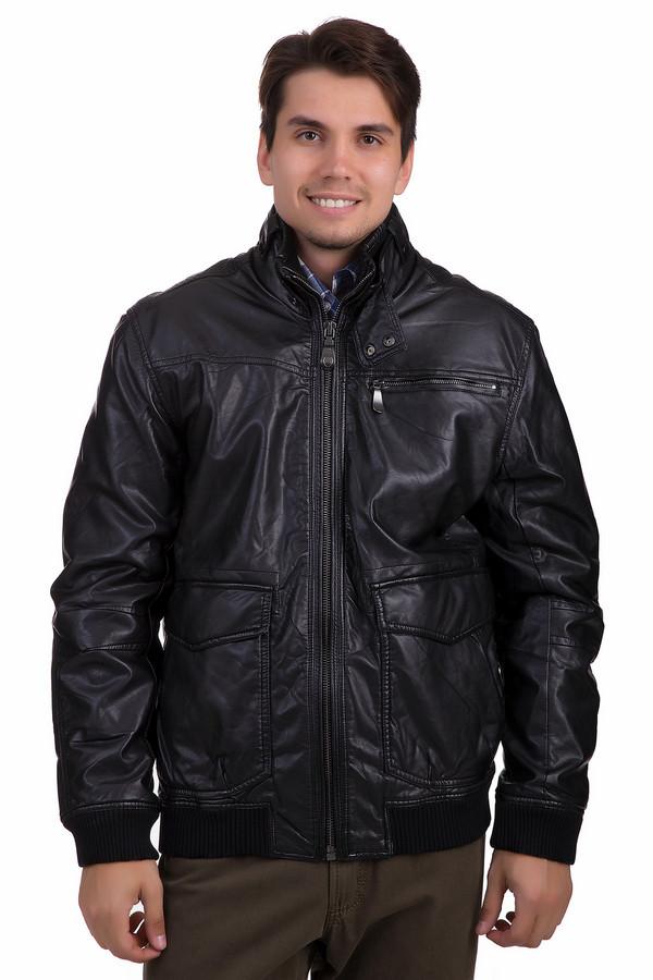 Куртка LerrosКуртки<br>Черная куртка Lerros из искусственной кожи. Центральная часть изделия застегивается на молнию. Модель дополнена воротником - стойкой, тремя внешними кармана и двумя внутренними карманами, Ворот, манжеты, нижний кант оформлены трикотажной резинкой.   Подкладка 100% полиэстер.<br><br>Размер RU: 54-56<br>Пол: Мужской<br>Возраст: Взрослый<br>Материал: полиуретан 100%<br>Цвет: Чёрный