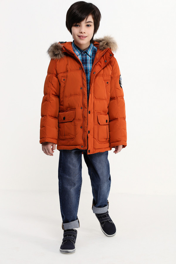 Куртка FINN FLAREКуртки<br><br><br>Размер RU: 38<br>Пол: Мужской<br>Возраст: Детский<br>Материал: полиэстер 100%, Состав_подкладка полиэстер 100%, Состав_наполнитель пух 80%, Состав_наполнитель перо 20%<br>Цвет: Оранжевый