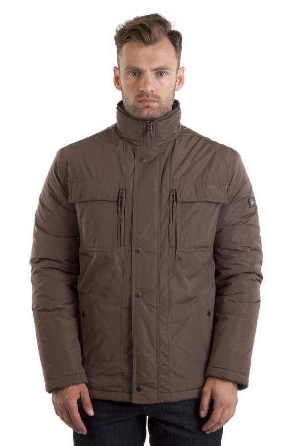 Куртка PezzoКуртки<br>Куртка Pezzo серо-коричневого цвета с воротником-стойкой. Центральная часть изделия застегивается на молнию и ветрозащитную планку на кнопках. Модель дополнена: четырьмя нагрудными карманами, двумя боковыми, двумя внутренними карманами на молнии, резинкой с ограничителями на поясе и нижнем канте.   Подкладка и утеплитель 100% полиэстер.<br><br>Размер RU: 50<br>Пол: Мужской<br>Возраст: Взрослый<br>Материал: полиэстер 100%<br>Цвет: Коричневый