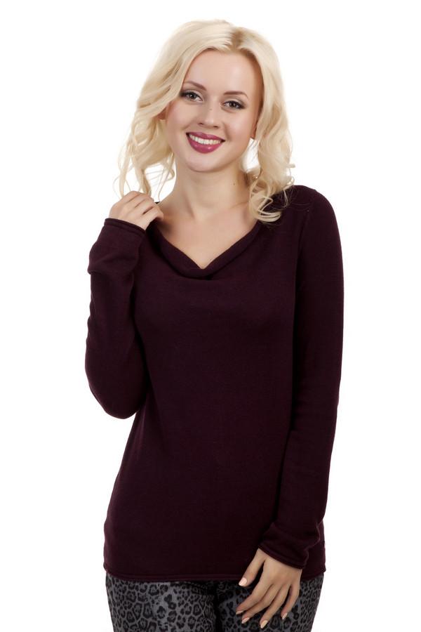 Пуловер Tom TailorПуловеры<br>Женственный пуловер бренда Tom Tailor удлиненного фасона представлен в винном оттенке. Изделие дополнено: воротником-хомут и длинными рукавами.<br><br>Размер RU: 42-44<br>Пол: Женский<br>Возраст: Взрослый<br>Материал: вискоза 47%, хлопок 53%<br>Цвет: Бордовый